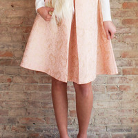 Arista Brocade Skirt - Blush