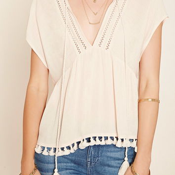 Contemporary Tasseled Peasant Blouse