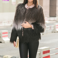 Super Quality  Women Long Hairy Shaggy Faux Sheep Goat Fur O-Neck Short Jackets Gradient Contrast Color Fuzzy Coat Outerwear