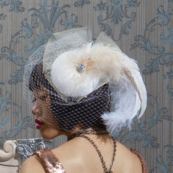 Champagne Wedding Veil, Feather Fascinator, Bridal Headpiece, Cocktail Hat, Ivory Birdcage Veil, Crystal, Batcakes Couture