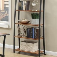 Poundex F3068 Brown wood finish and dark meal frame book shelf