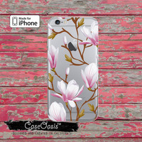 Magnolia Flower Floral Pattern Tumblr Cute Clear Rubber Phone Case For iPhone 6, iPhone 6 Plus +, iPhone 5/5s, iPhone 5c Transparent Case
