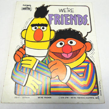 Playskool Wood Puzzle 315-17 Sesame Street Bert And Ernie We're Friends Wood Frame Tray Muppets