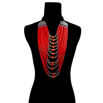 Red Wooden Multi Layered Bead Necklace