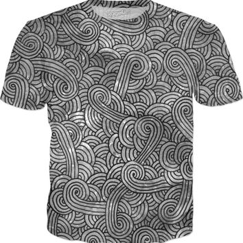 Grey and black swirls doodles T-Shirt