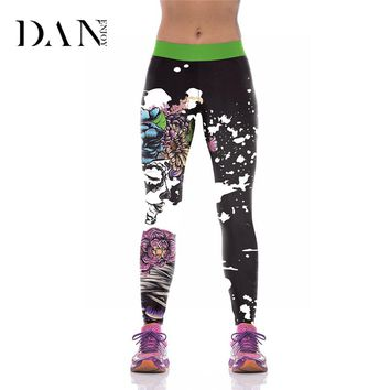 Printed High Waist Yoga Pants Flower Sports Compression Leggings Women Halloween Tights Girls Gym Fitness Bodybuilding