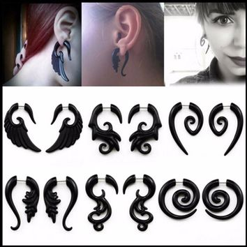 Punk 1 Pair Acrylic Spiral Gauge Ear Plug