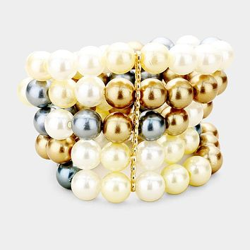 Pearl Multi Strand Stretch Bracelet