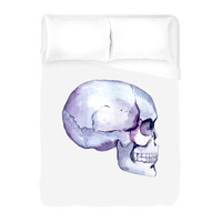 Watercolor Skull Duvet Cover