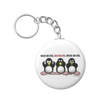 3 Wise Penguins Keychain