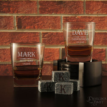 Personalized Rocks Whiskey Lowball Tumbler with Groomsman Monogram Designs & OPTIONAL Four (4) Whiskey Stones or Engraved Whiskey Stones