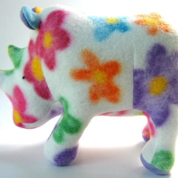 Bryony the Flower Power Rhinoceros, small, mini, stuffed animal, plush, fleece