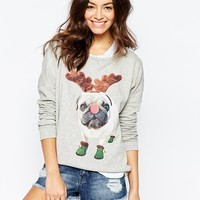 Only Christmas Pug Motif Jumper