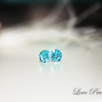 Swarovski Crystal XIRIUS Chaton Stud Earrings Post - Color Light Turquoise- Hypoallergenic or Metal post - Choose your post
