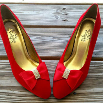 80 s Ruby Red Heels with Rhinestone Bows by The PM Collection ef5055b36