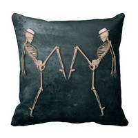 Dancing Skeletons - Undead Throw Pillow
