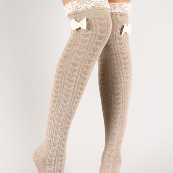 Single Bow Thigh High Socks