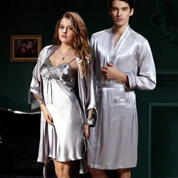 Couple Bathrobes For Men Women Full Sleeve Solid Robes - Free Shipping
