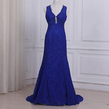 Royal Blue Lace Evening Dresses Sexy V-neck Sleeveless Empire Long Party Prom Gowns Open Back