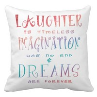 Laughter, Imagination and Dreams - White Grade A Cotton Throw Pillow
