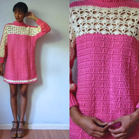 Vtg Retro Pink & White Chunky Knit LS Dress