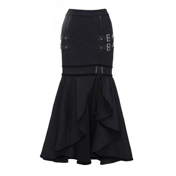 Gothic Women Skirts Black Asymmetrical Knee Length Skirts Trumpet Mermaid Bodycon Sequined Skirts Goth Femme Skirts