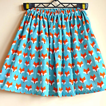 Pleated midi skirt, midi skirt, fox print, knee length, skirt pleat, high waist, cotton skirt, bohemian clothing, festival fashion