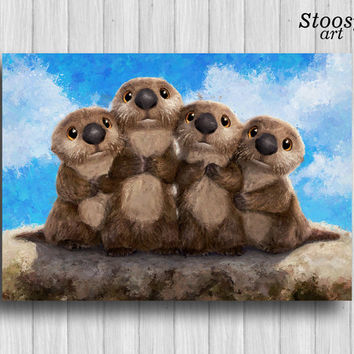 finding dory otters print nursery art animal otter painting disney pixar