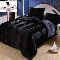 Black Luxurious Smooth Shiny Mulberry Silk Duvet Bedding Set and Quilt Cover