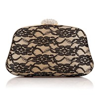 Good Women Floral Minaudiere New Lace Satin Evening Bags High-grade Silk Bow Party Bag Exquisite Day Clutches
