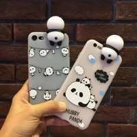Kawaii 3D Cartoon Panda tranparent soft tpu phone Case Cover For iPhone 6 6S plus 7 8 plus new hot Rubber shell