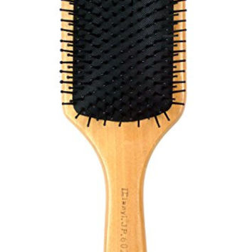 Natural Wooden Massage Brush, Nylon Bristles With, Cushion Paddle Brush