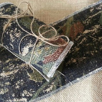 """Choose your Camo Burlap Ribbon . We offer 3"""" and 6"""" by three yards"""