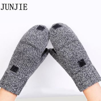 Male Fingerless Gloves Thick Men Wool Winter Warm Exposed Finger Mittens Knitted Warm Flip Half Finger Gloves 10 pairs