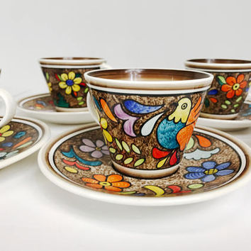 Vintage Cuernavaca Mexican Folk Art Tea Cup and Saucer Set Stu Ma Hand Painted Bird Flowers 8 Cups 6 Saucers Signed 1970s Bright Colors