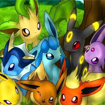 New Anime Wallpapers Custom Canvas Posters  Eevee Evolutions Anime Stickers Home Decoration  #PN#341#Kawaii Pokemon go  AT_89_9