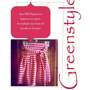 Savannah Skirt Easy PDF Sewing Pattern Size 18 months up to 16 years with Knit Fabric Drop Waist