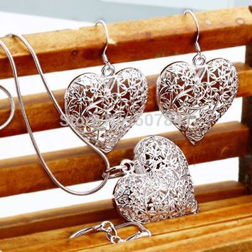new arrive free shipping Plated silver jewelry fashion cute Pretty Heart Necklace Earring women party set TOP quality