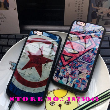 Brand Superman Super man Captain America shield Luxury Soft Silicon Phone Case Cover Coque Fundas for iPhone 5 5s 6 6s 6 Plus #