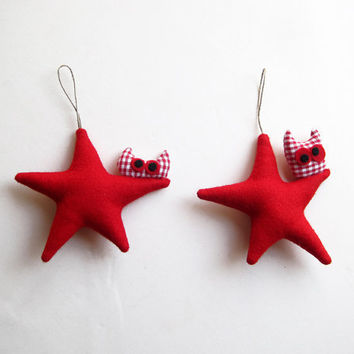 Red Stars Two Christmas ornament Felt Decoration wall by Intres