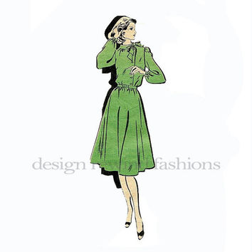 DRESS PATTERN Prominent Designer Dress Pattern M142 Mail Order Asymmetrical Button Bodice Bow Tie Collar Bust 34 UNCuT Womens Sewing Pattern