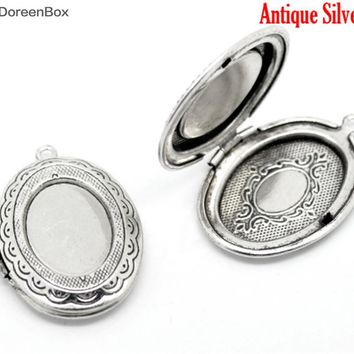 Doreen Box Lovely Antique Silver Oval Photo Frame Locket Pendants 34x24mm, sold per packet of 5 (B15912)