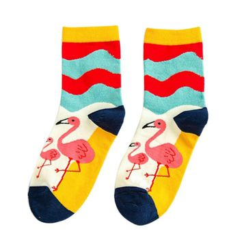 1 Pair Europe and America towel tube socks Cartoon Women Autumn Winter Cute Flamingo Brand Cotton Socks For Women Girls