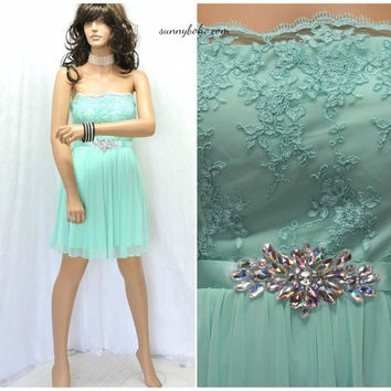Sweet strapless seafoam green mini party dress M rhinestone lace taffeta cocktail dress 7 / 8 mint green formal mini dress SunnyBohoVintage