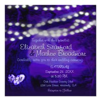 Wedding Invitation | Monogram Purple w/Lights