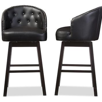 Baxton Studio Avril Modern and Contemporary Black Faux Leather Tufted Swivel Barstool with Nail heads Trim Set of 2