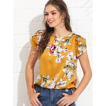Ginger Pleated Neck Petal Sleeve Floral Top
