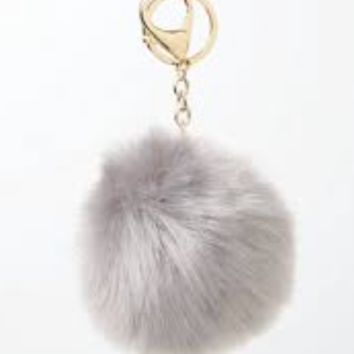 'Obsessed' Pom-Pom Keychain - Grey
