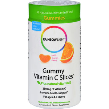 Rainbow Light Gummy Vitamin C Slices Tangy Tangerine - 250 mg - 90 Gummies Slices