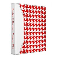 Red & White Houndstooth personalized Binder
